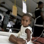 A child stricken with cholera is being treated at a cholera treatment center in Carrefour, an area just outside of Port-au-Prince June 6, 2011.  Credit: Reuters/Swoan Parker