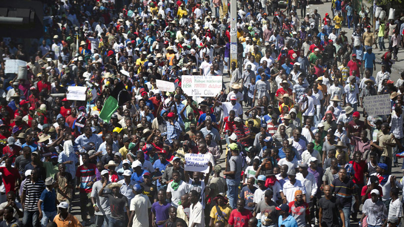 Protest against Martelly-Lamothe regime in Port-au-Prince, Haiti, on Vertieres Day, November 18, 2014.