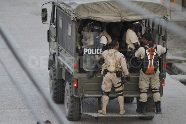 Paramilitary police patrol Port-au-Prince, Haiti in April 2011, after the announcement of the elections that brought Michel Martelly to the presidency.