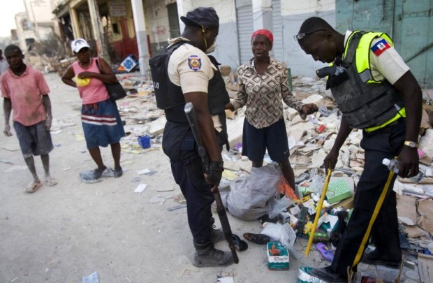 Haitian Police Check Bags in Downtown Port-au-Prince