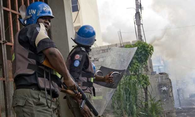 MINUSTAH Police Officers Assist National Police to Quell Student Protest