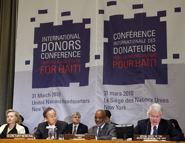 "Opening session of the International Donors' Conference towards a ""New Future for Haiti""."