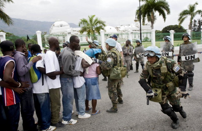 UN Peacekeepers Provide Security During Port-au-Prince Food Distribution